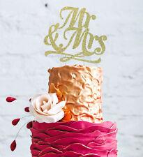 Mr and Mrs Cake Topper - Mr & Mrs Wedding/ Anniversary/ Hen Party- Glitter Gold