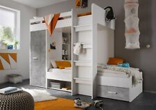 Brand New Modern Cabin Bunk Bed MAX with Wardrobe and Drawer in White/Grey