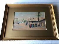 "E. Coltam Original Watercolor Middle East Landscape, Signed, Framed 12 3/4"" x 8"""
