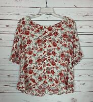 Lucky Brand Women's L Large Ivory Coral Floral Short Sleeve Spring Top Blouse