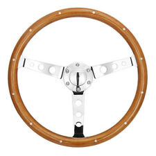 15inch Polished Spoke Wooden Steering Wheel with Rivet & Horn Button Universal