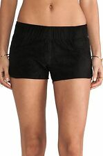 Hudson Jeans Siouxsie Dolphin Shorts Lamb Nubuck Stretch Leather Black Sz M NWT