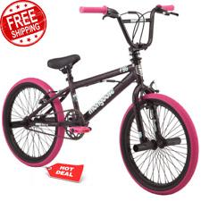 "Kid's BMX Bike 20"" Wheels Single Speed Durable Steel Frame Girls Black Pink NEW"