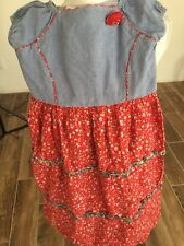 Little Miss  Dress Girl's Size 14. Denim Top Red Floral Print Skirt SS EUC