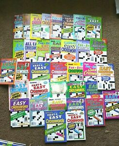 Lot of 5 New Penny Press Crossword Puzzle Books ALL EASY JUMBO and SUPER JUMBO