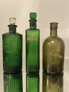 Vintage Glass Chemist Apothecary Jar Bottles with Stopper - 1 Stamped TR Digital