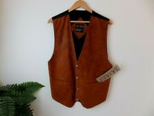 TRIBES Brown Leather Suede Vest Size L Brand New with Tags.