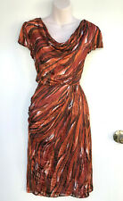LAURA K Burnt Orange & Brown Embossed Silk Cowl Neck Pencil Cap Sleeve Dress 10