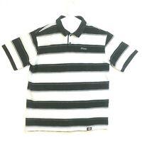 Dickies Mens Polo Shirt  XL Short Sleeve 1/4 Button Up Black & White Striped GUC