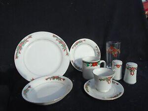 Tienshan Poinsettia & Ribbon Dinnerware & Glassware
