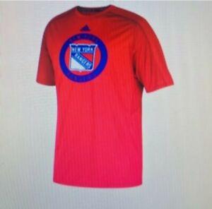 New York Rangers Adidas Climalite Authentic Training T-Shirt - Mens