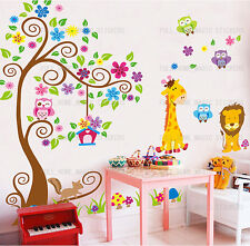 Giant Swirl Tree Owls Flower Wall Stickers Art Decal Kids Baby Room Nusery Decor