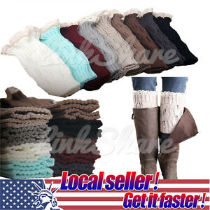 TX LOCAL Women's Leg Warmers Crochet Knitted Lace Trim Boot Cuffs Toppers Socks