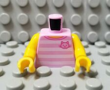 LEGO New City Girl Female Pink and White Stripe Shirt Torso Cat Face Pattern