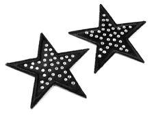 2 Applikation Sterne Ø5 cm mit Steinen schwarz
