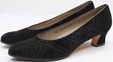 "Salvatore Ferragamo black suede pumps 2"" high heels Size 9 AA US 39 EU 7 UK"