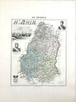 1893 Antique Map Haut Rhin Colmar France French Department Hand Coloured