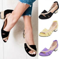 Women Casual Safe Peep Toe Leather Low Heels Sandals Outdoor Travel Shoes Size