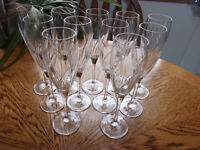 Agena Fluted Champagne France Cristal D'Arques - Set of 11