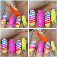 NEW! BLING Rainbow Nails Nail Art Bright Holiday x 20 EXTRA LONG COFFIN