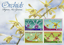 Papua New Guinea 2010 MNH Orchids 4v M/S Dendrobium Flowers Flora