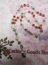 8 mm Multi Color Glass Cube beads and Medals  - Saint St. Michael's Chaplet