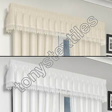 MACRAME LACE LINED VOILE READY MADE PELMET VALANCE WHITE CREAM