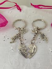 Mother And Daughter Hearts Keyrings Bag Charm With Gift Bag Mothers Day Mum Mam