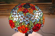 "16""W Rose Flower Jeweled Stained Glass Handcrafted Table Desk Lamp, Zinc Base"