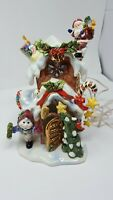 """Grandeur Noel Lighted Holiday House 9"""" Ceramic 2002 Collectors Edition Christmas"""