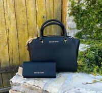 NWT MICHAEL KORS AUTHENTIC LARGE Ellis LEATHER SATCHEL/WALLET BLACK