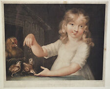 antique hand colored stipple engraving Girl & Chickens Miller Godby London 1799