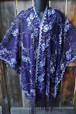 ART TO WEAR GLAM SEQUIN EMBROIDERED SHORT KIMONO JACKET PURPLE & LAVENDER, OS+!