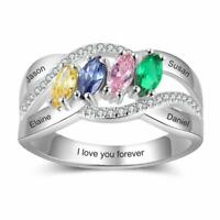 925 Sterling Silver Women Rings Personalized Names Birthstones Mothers Day Gifts