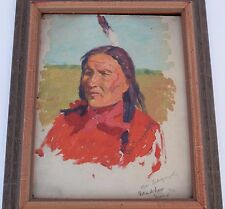 "Antique Charles Schreyvogel oil on board painting ""Sioux Indian Black Horn"""