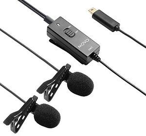 Movo GM2 Dual-Capsule Lavalier Lapel Microphone for GoPro HERO3 HERO3+ & HERO4