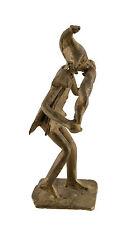 Statuette,figurine africaine en bronze, ancienne-Musicien-Art Africain-AF 1088