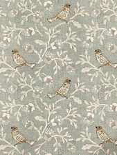 Bird Song Duck Egg Fabric Remnant 50cm X 40cm 100 Cotton