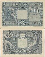 REGNO D'ITALIA,10 LIRE TESTA DI GIOVE DEC.23 NOVEMBRE 1944 FIOR DI STAMPA