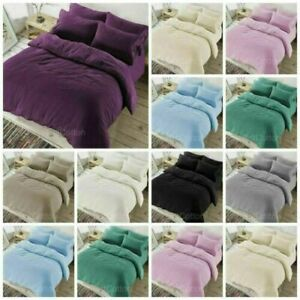 Teddy Bear Fleece Bedding Thermal Warm Fur Duvet Cover Set With Pillow Cases