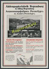 orig. Reklame Aktienpapierfabrik Regensburg Pustet Alling Sinzing Laabertal 1916