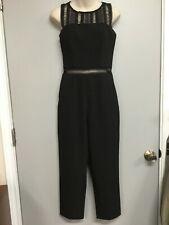 Sz 4 XS BARDOT Black Slim-Leg Crop Jumpsuit, Black Crochet Lace Accents 20-352-6