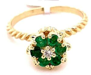 VINTAGE LADIES 14K YELLOW GOLD TULIP SHAPED RING WITH EMERALDS AND DIAMOND