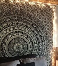Elephant Mandala Tapestry Single Bed Black & White Star Wallhanging  Art UK