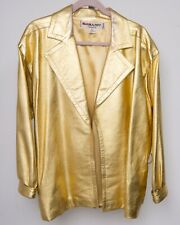 Saint Laurent Paris Rive Gauche Vintage Couture 80s Gold Leather Jacket Women 42