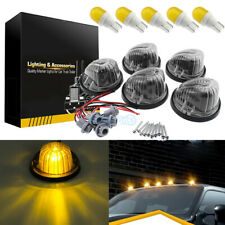 5Pcs Round Cab Roof Marker Light Smoke Cover +T10 Amber LED For 73-87 Chevy/GMC