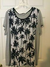 YumYum Womens 2X  Shirt - Beautiful  White/Black w/palm trees NWT Retail $44