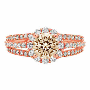 1.98 ct Round Halo Yellow Moissanite Bridal Classic Statement Ring 14k Pink Gold