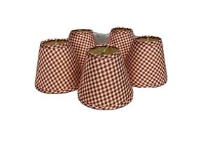 """Red & White Gingham Check Fabric Covered Clip-On Bell 4"""" Chandelier Lampshades"""