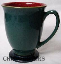 "DENBY china HARLEQUIN Original England patten Mug - Red Green - Blue Foot 4-1/4"""